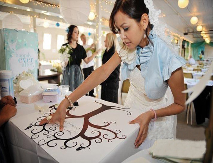 Creative DIY Wedding Fingerprint Tree Signature Guest Book For Wedding Party Graduation Decor Funny Graft Supplies(China (Mainland))