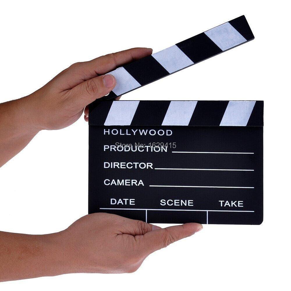 2015 high quality Wooden Director's Film Movie Slateboard Clapper Board Director Video Scene Clapperboard Cut Prop