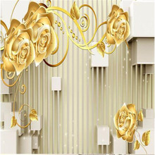 custom photo wall mural wallpaper-3d Luxury Quality HD Gold rose white squares Modern Art Design large wall mural paper(China (Mainland))