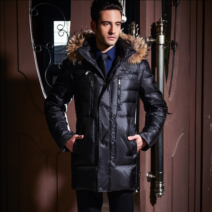 Winter jacket men Brand down coat High quality Raccoon mink with a hood male long design