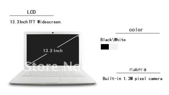 HZONE Cheap price 13.3 inch laptop computer,mini laptop notebook with D425 1.8GHz processor,2GB memory,320GB HDD,3.0M webcam(Hong Kong)