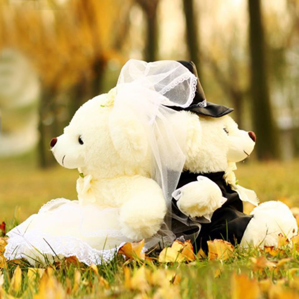 20CM Wedding Teddy Bear Plush Toys Cute Soft Stuffed Toys High Quality Dolls Couple Bear Birthday Wedding Valentine Gift(China (Mainland))
