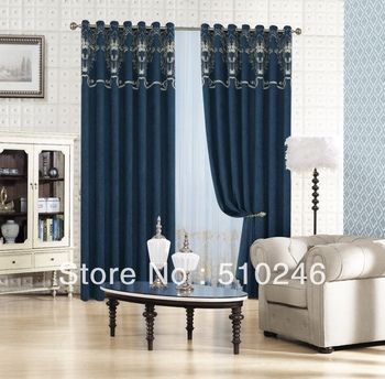new arrival customized chenille embroidery ready made livingroom door window drape rod grommet curtain drapery