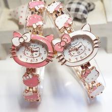 2015 New Hello Kitty Watches Fashion Ladies Quart Watch Vintage Kids Cartoon Wristwatches Analog King Girl Brand Quartz women