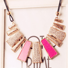 retail free shipping rhinestone necklaces pendants for women fashion jewelry rope chian 2 colors avialable high quality(China (Mainland))