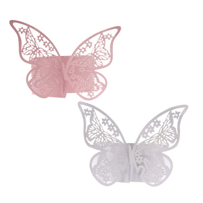 Free Shipping 50pcs Napkin Butterfly Ring Paper Holder Table Party Bridal Wedding Favors(China (Mainland))