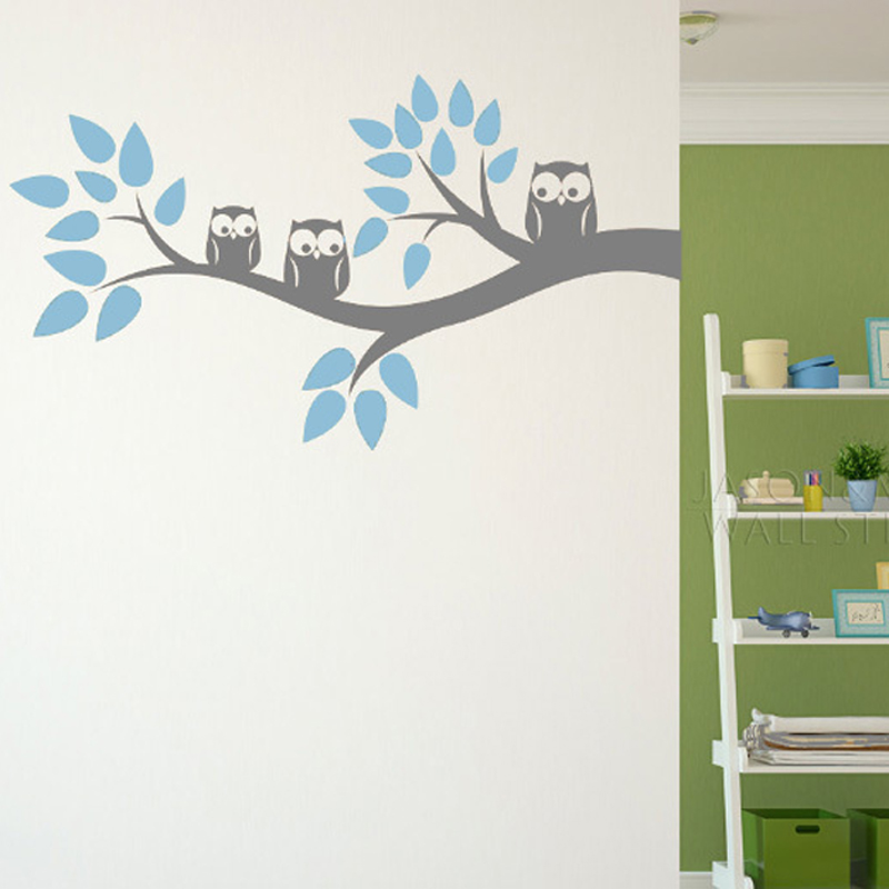 Cute three owls branch wall decal sticker home decoration for Childrens wall mural wallpaper
