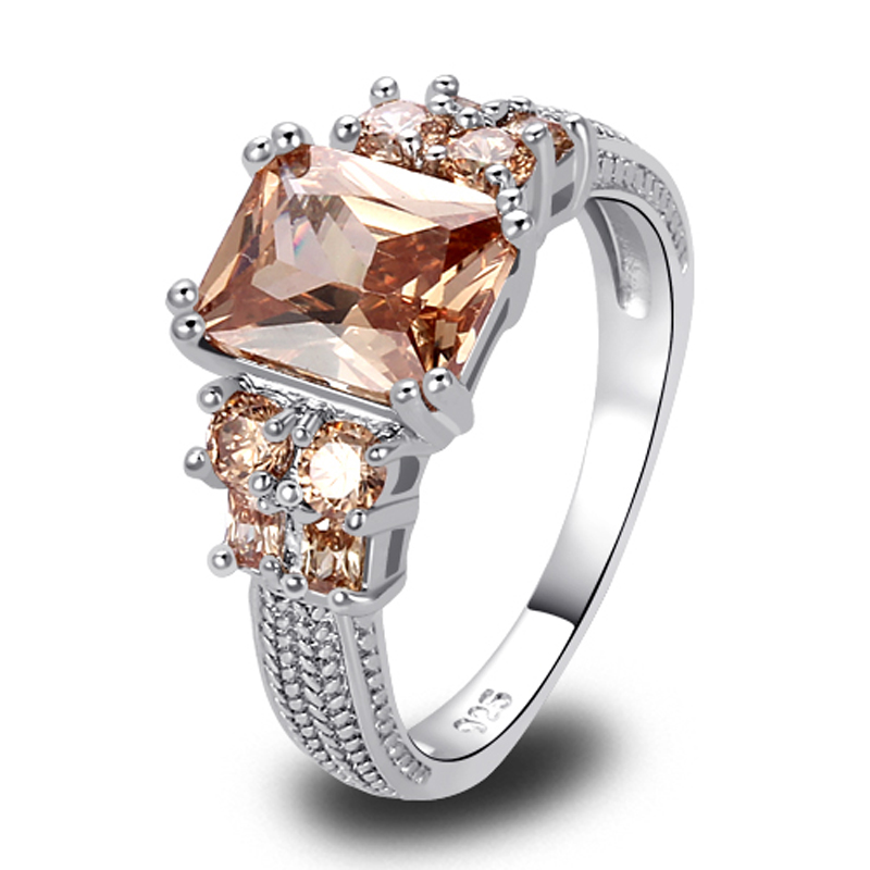 Wholesale Saucy Exalted Emerald Cut Morganite Silver Ring Size 10 New Fashion