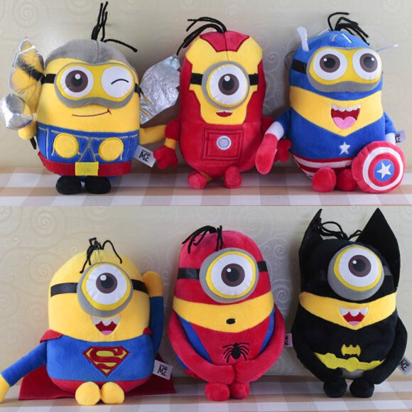 6pcs Despicable Me Minion doll The Avengers Super Hero Spiderman &amp; Superman &amp; Batman &amp; Captain America &amp;Thor&amp; Iron Man plush toy<br><br>Aliexpress