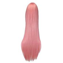 QQXCAIW Uzun Düz Cosplay Peruk Siyah Mor Siyah Kırmızı Pembe Mavi Koyu Kahverengi 100 Cm Sentetik Saç Peruk(China)