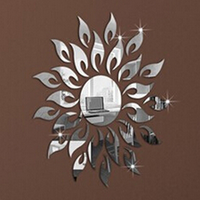 1Set 2015 Home Decoration 3D Mirror Surface Wall Stickers DIY Modern Decals Sunflower Fire - Top Ali Store store