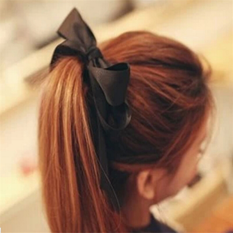 Hair Accessories1 Piece Women Satin Ribbon Bow Hair Band Rope Scrunchie Ponytail Holder 6 Colors Women Hair Styling Tool Hot(China (Mainland))