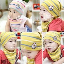 Hot Sales 2Pcs Sets Spring Baby Boys Girls Clothes Stripe Soft Cotton Hat Cap Triangle Bib