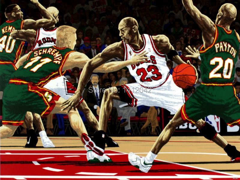 Fashion Decorations!!! Michael Jordan vs Seattle SuperSonics Art Sport Basketball Art Fine Wall Stickers Print PosterJ0238(China (Mainland))