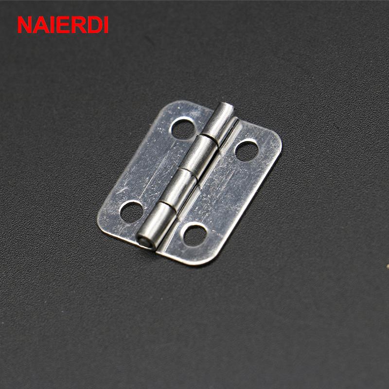 30pcs NAIERDI 25mm x 20mm Silver Mini Door Hinges Cabinet Drawer Jewellery Box Mini Hinge With Screws For Furniture Hardware(China (Mainland))
