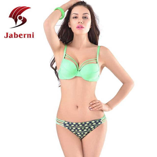 Строка зеленый бикини сексуальный повязку купальник твердые топ узелок дно досуг пляж женщины Pin Up бренда бюстгальтер