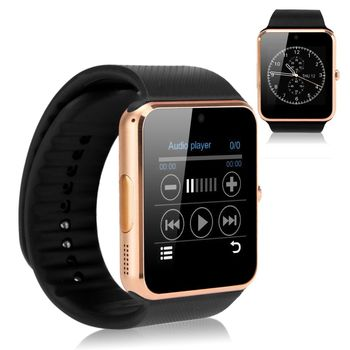 """2016 1.54""""gt08 Bluetooth Smart Watch for Iphone Samsung Htc Xiaomi Android IOS Note Independent Cellphone Gold+Black wrist watch"""