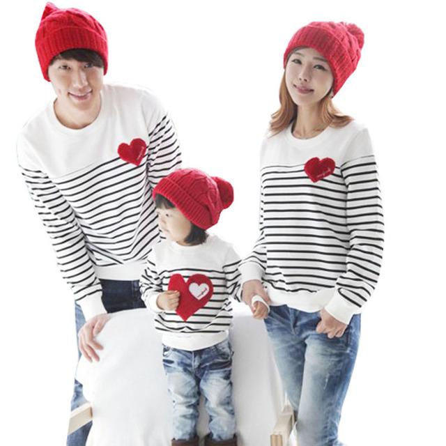 Семьи сопоставления одежда Весна Осень с длинным рукавом любовь Полоса мать отец ...