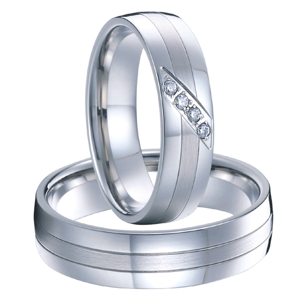 1 Pair High End Handmade Custom Silver White Gold Color Wedding Rings Sets Fo
