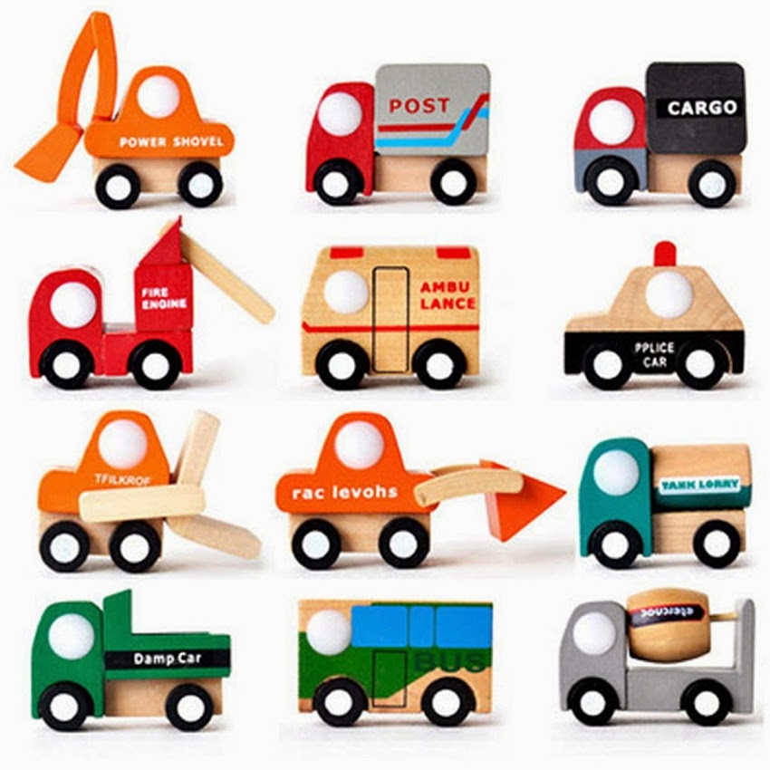 12 Pcs Mini Wooden Intelligence Kids Children Toy Truck Car Vehicle Model New(China (Mainland))