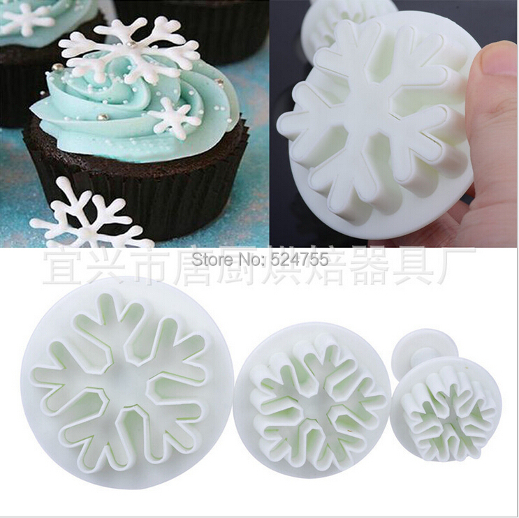 Plastic Biscuits Ice Snow Flake Fondant Cake Sugar craft Decoration Cookie Cutter Chocolate Mold Kitchen Bakeware Cooking Tools(China (Mainland))
