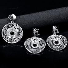 סאני תכשיטי קלאסי עגול תכשיטי סטים לנשים עגילי תליון שרשרת זירקון פרח חתונה אירוסין(China)