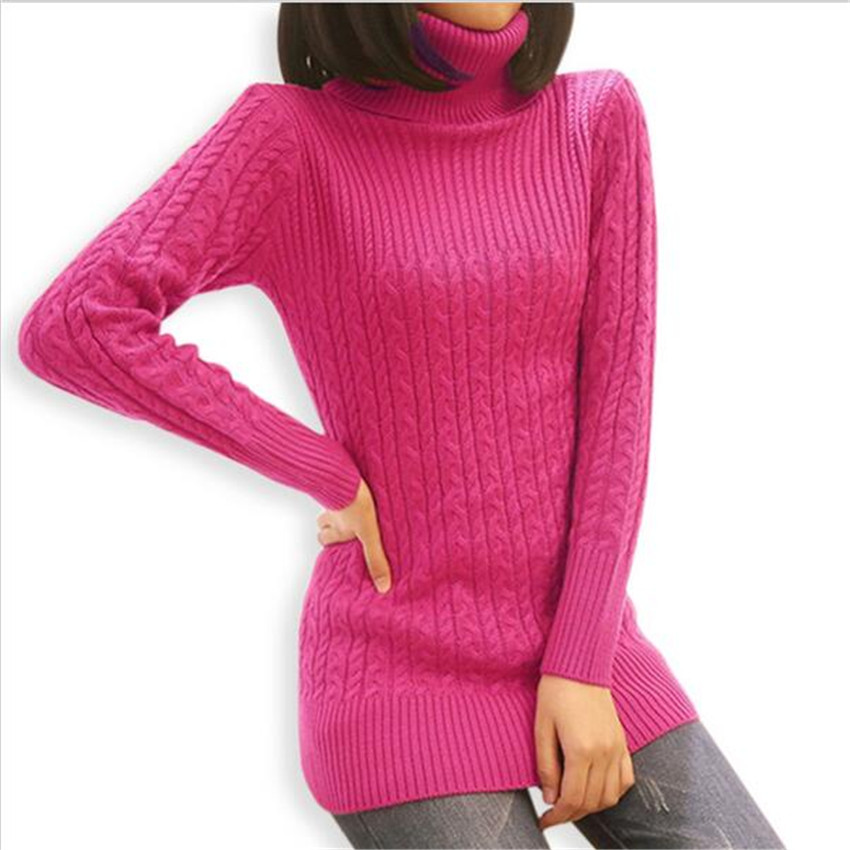 Knitting Patterns Womens Turtleneck Sweaters : Female Slim Knitted Jumpers 2015 Women Turtleneck Sweater Autumn Winter New T...