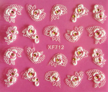 Europe beauty white flower rose lace carved 3D nail art stickers 3D nail stickers tools XF712