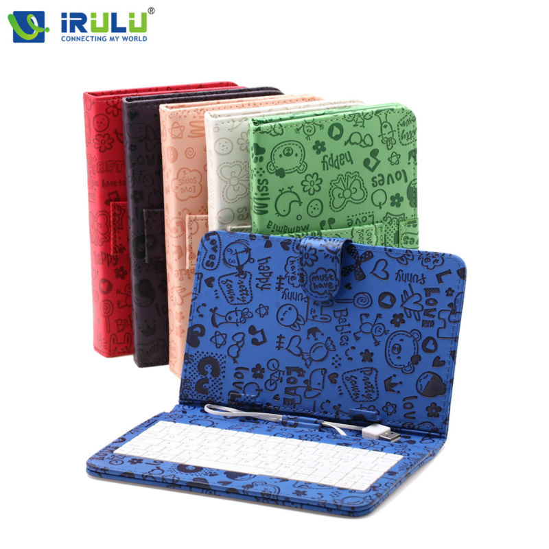 "New iRULU 7"" fashion and Colorful Tablet PC Case PU Leather Cover with Micro USB Keyboard Folding Folio Keyboard Leather(China (Mainland))"