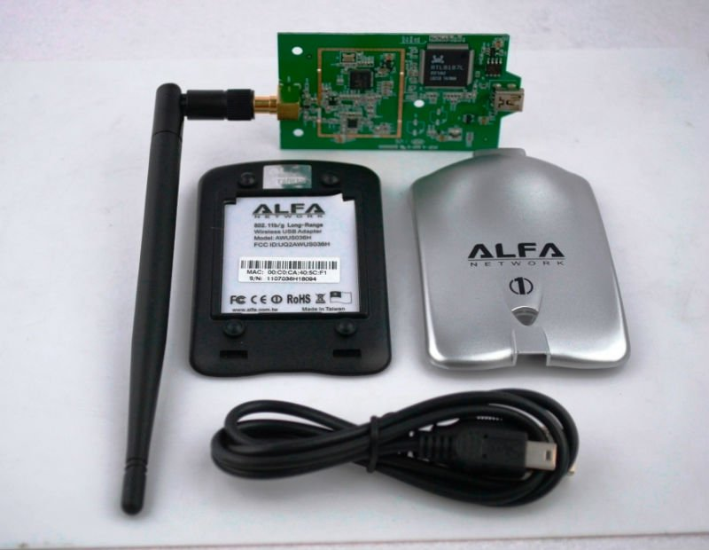ALFA AWUS036H USB WLAN Adapter Realtek8187L chipset 54Mbps Wireless N 802.11N/G High Power USB WiFi Adapter Wireless with 6dbi(China (Mainland))