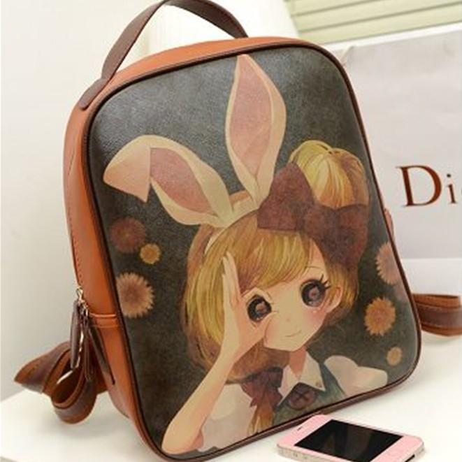 2015 fashion Japanese style kawaii backpack female anime backpack girl high school student backpack leather PU