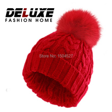 2015 Fashion Caps And Winter Knitted Boy's Beanie Hat With Fox Fur Pom Poms Woolen Black Hats For Girls Apparel Accessories(China (Mainland))