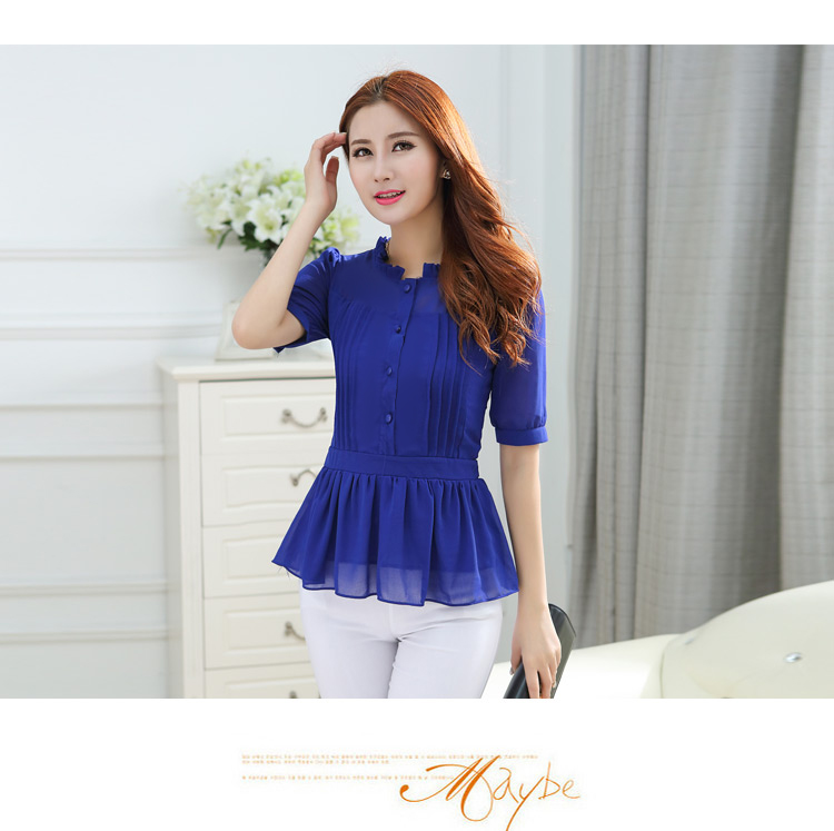 Woman plus size Three Quarter Mandarin Collar Button Puff Sleeve Chiffon shirts lady summer solid Fold belt slim blouse F538 D15(China (Mainland))
