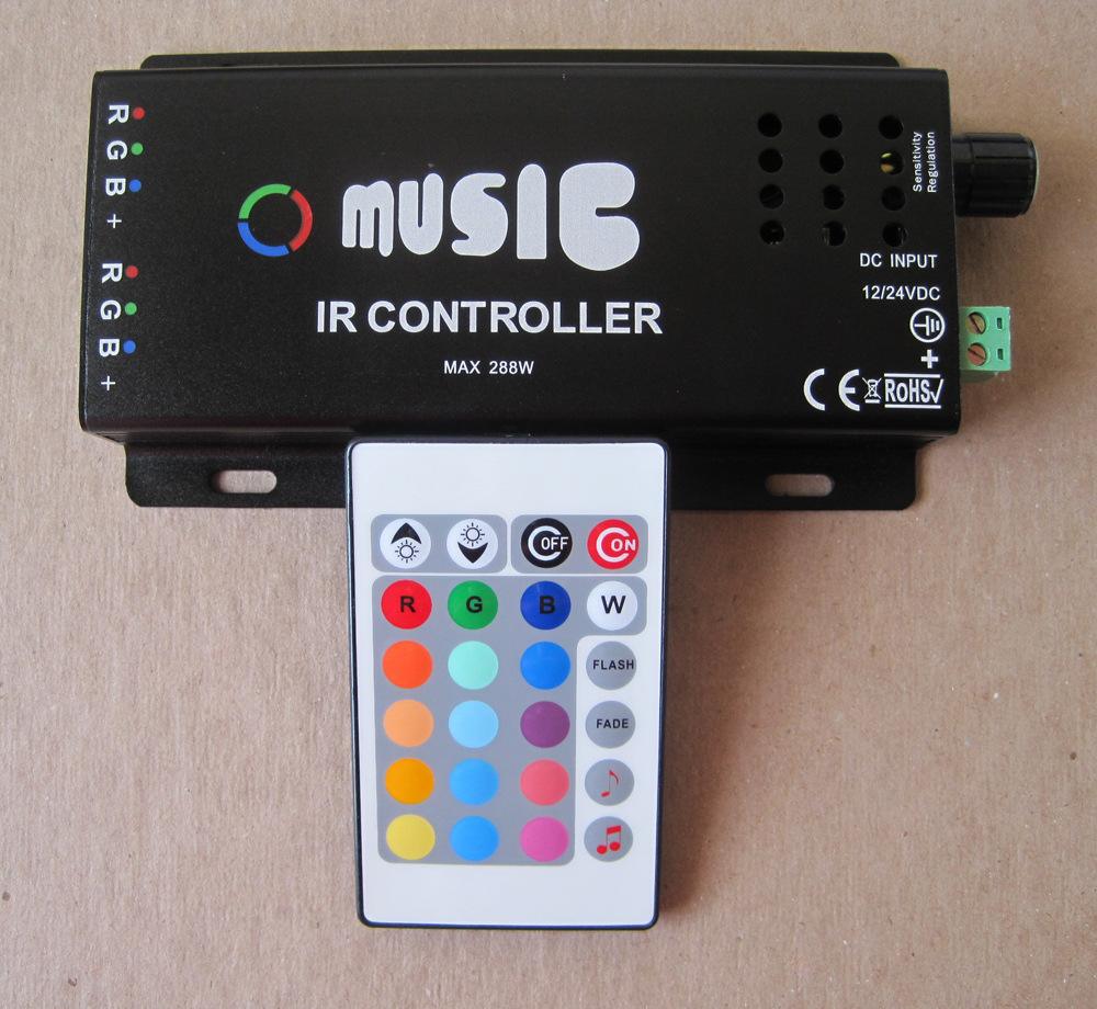 NEW Music LED IR Remote Controller RGB Sound Sensitive Music Color Changer Indoor Accent Lighting LED Strip Light RGB Spotlight(China (Mainland))