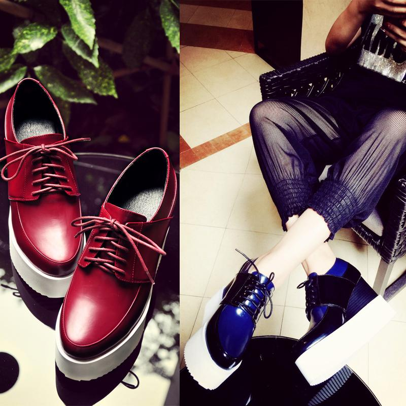 Thick Crsut Muffin Wine Red Blue Cowhide Patent Leather Round Toe Wedges Shoe 2016 Spring New Fashion Women Slope Shoes Discount<br><br>Aliexpress