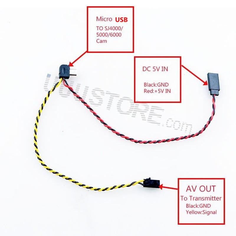 Micro USB to AV Out Cable for SJ4000 SJ5000 SJ6000 Camera FPV Video Audio Transmitter Cable AV(China (Mainland))