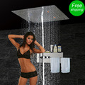 Shower Massage Jets Wall Mounted Panel Bath Faucet Tap Sets Thermostatic Mixer LED Ceiling Shower Head Rain Waterfall Bubble