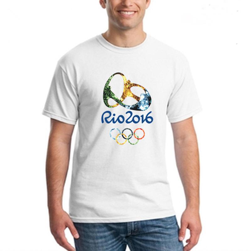 2016 Rio Olympic Short Sleeve T-shirt Men's Summer topTees Rio DE janeiro Men Off White Cotton Sport T shirt Basketball Jersey(China (Mainland))