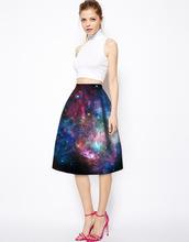 Women 3D Star series of digital printing Skirts Elegant Office Ladies Slim High Waist Skirts Vintage Jupe Clothing Faldas Saia