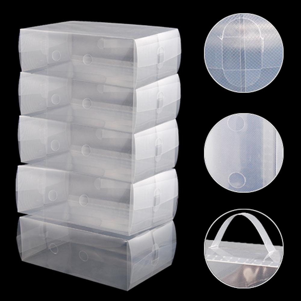 USA Stock! 5 x Clear Plastic Mens Shoe Storage Boxes Containers Size 8 9 10 11(China (Mainland))