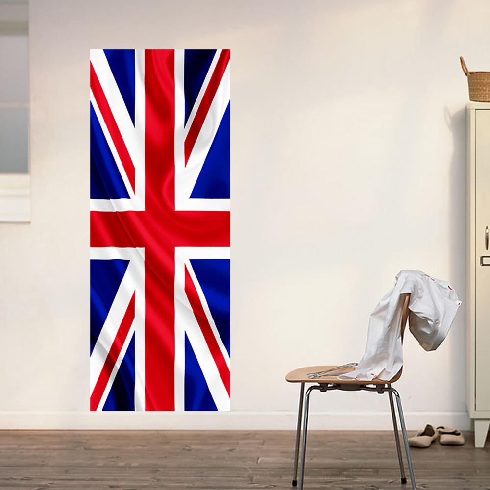 2 pcs/set English Flag Door Wall Stickers DIY Mural Bedroom Home Decor Poster PVC Waterproof Door Sticker Imitation 3D Decal EA(China (Mainland))