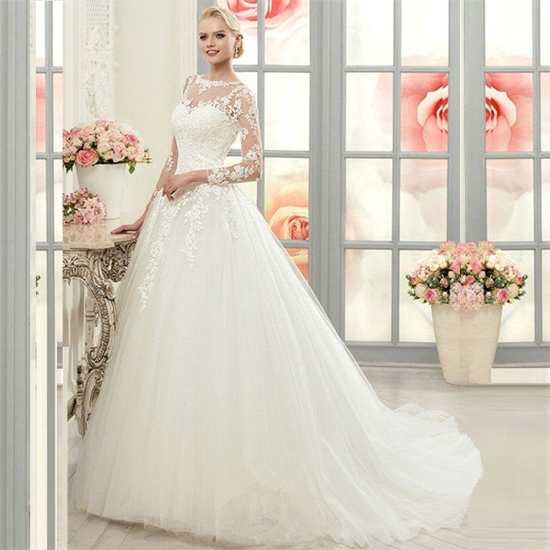 Buy vintage long sleeve lace ball gown for Online wedding dress stores