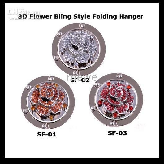 Folding Purse Bag Hanger Hook,Handbag Hooks Hangers Black Velvet Pouch Included 3D Flower Crystal(China (Mainland))