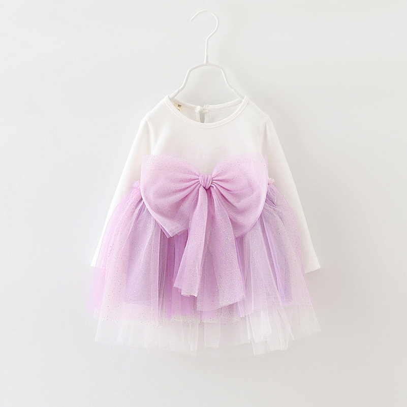 New arrival baby girls TUTU dresses kids voile long sleeve bow princess dress kids girl summer clothes(China (Mainland))