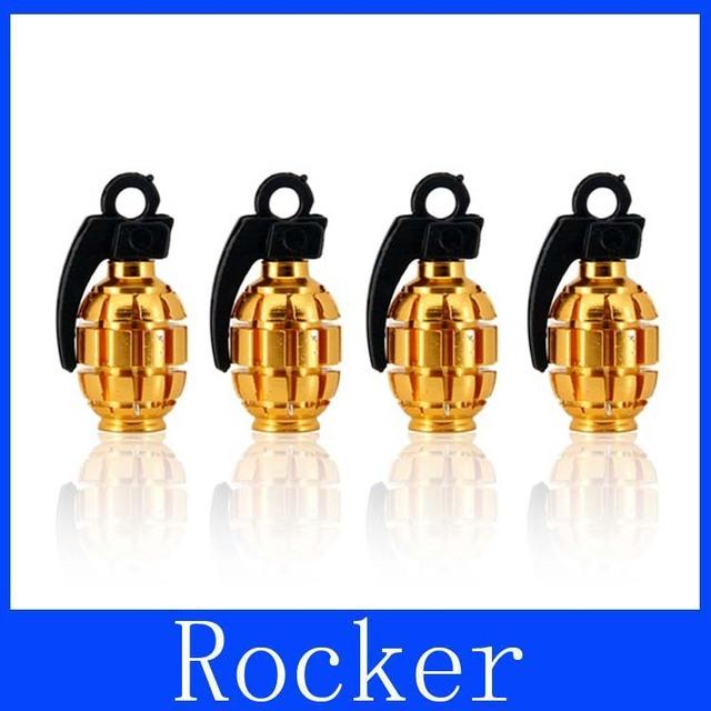 Free Shipping+Car Hand Grenade Design Plastic & Aluminum Alloy Tire Valve (Golden + Black)