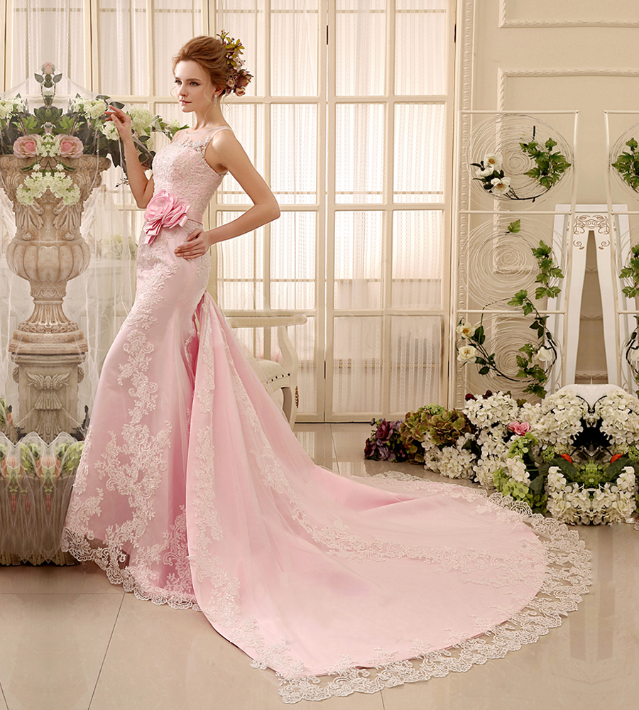 Chic pink flower lace mermaid wedding dress 2 piece long for Mermaid wedding dress with long train