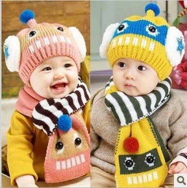 New Fashion Winter Cartoon Robot Baby Hats Scarf Sets Kids Beanie Child Scarf Ear Protector Caps For baby 5-36 Months 120(China (Mainland))