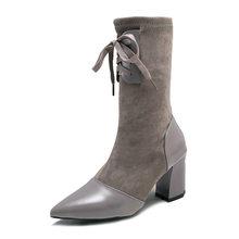 Xiaying Smile/зимние женские ботинки до середины икры; Новая Стильная однотонная обувь с острым носком; модная повседневная женская обувь из флок...(China)
