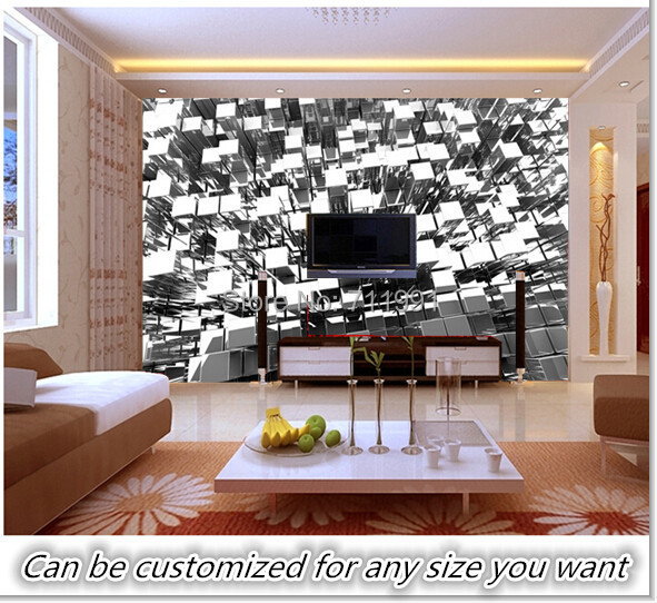 Free shipping custom 3d silver blocks abstract wall mural for Silver wallpaper living room