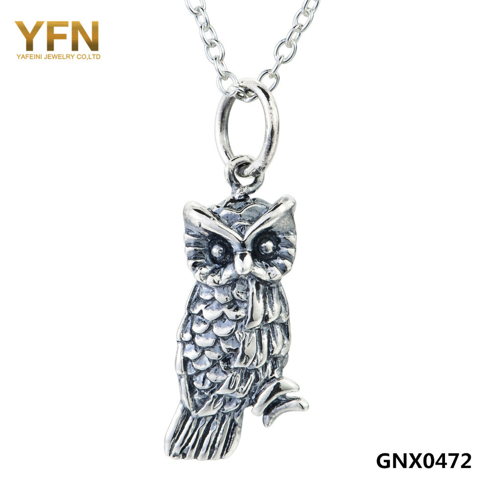 GNX0472 Gneuine 925 Sterling Silver Owl Jewelry Animal Pendant Necklace Vintage Necklace For Women Collares Mujer(China (Mainland))
